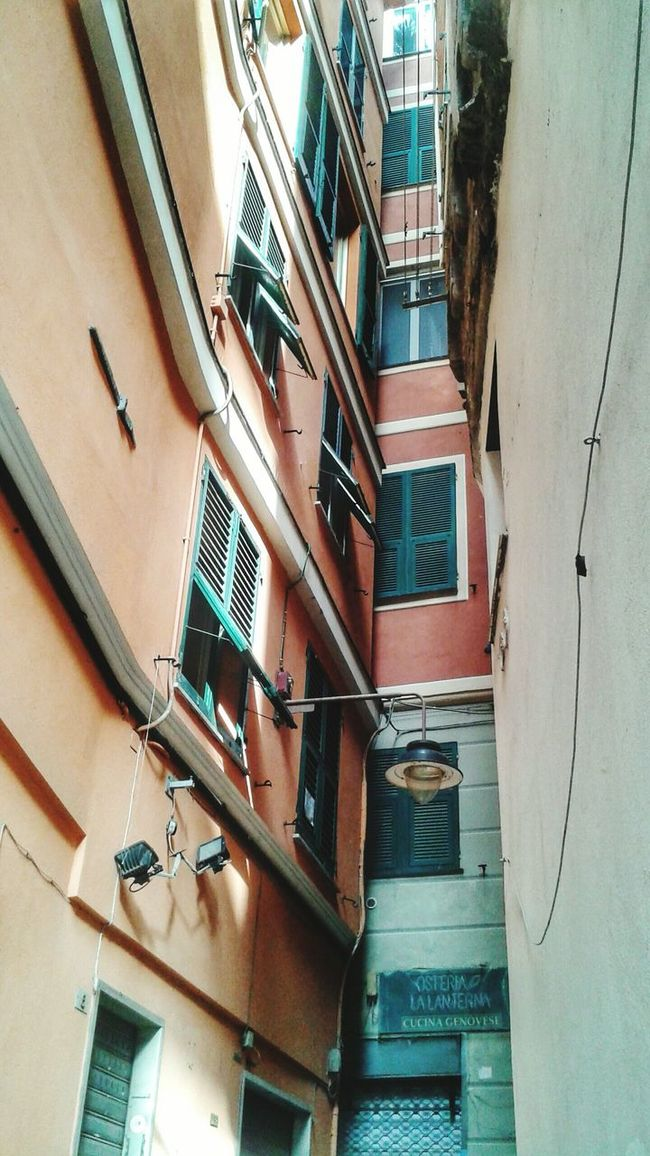 """"""" Caroggi of Genoa - spot the street"""". Yes, is just between the """"lens-lining"""" building and the more red one.... The Persiane ( Jealousies) are true, can't believe one can open them... Centro Storico Di Genova Historical Center Narrow Street Narrow Alleys Alleyways Caruggi Vicoli VICOLI TUTTO MOLTO BELLO Buildings Typical Downtown Looking Up Mobile Photography HDR Eyeemfilter / Genova ♥ PS: I noticed now the Sign of a Trattoria la Lanterna where I had dinner with a foreigner friend of mine. Good enough Liguria food"""