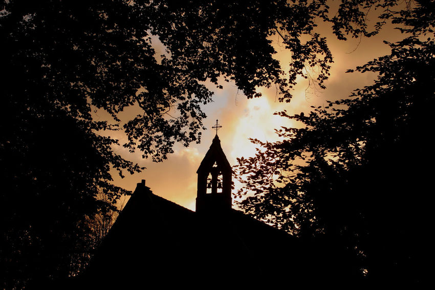 Architecture Bell Tower Bromsgrove Building Exterior Built Structure Church Cross Day Lickey Hills Low Angle View Nature No People Outdoors Place Of Worship Religion Silhouette Sky Spirituality Sunset Tree Worcestershire