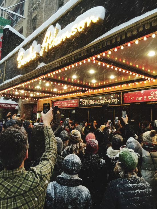 When the Broadway Show is ordered to be closed they just put out a show outside of the Theater New York City Show Must Go On Show Must Go Home Snow January 2016 Awesome People