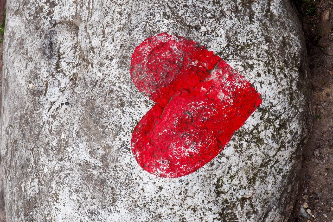 Close-up Day Graffiti Happieness Heart Love Marriage  No People Outdoors Paint Red Relationship Rough Sign Stone Street Art