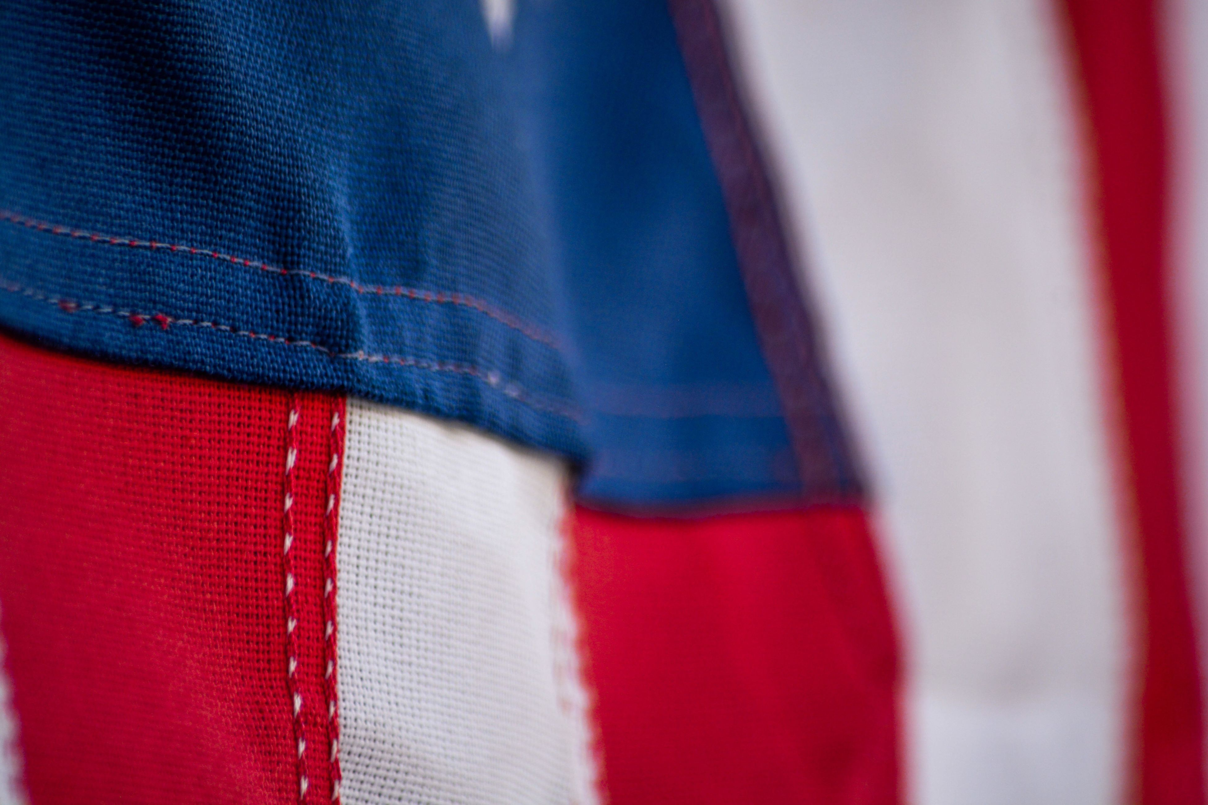 red, blue, textile, clothing, close-up, selective focus, no people, green color, full frame