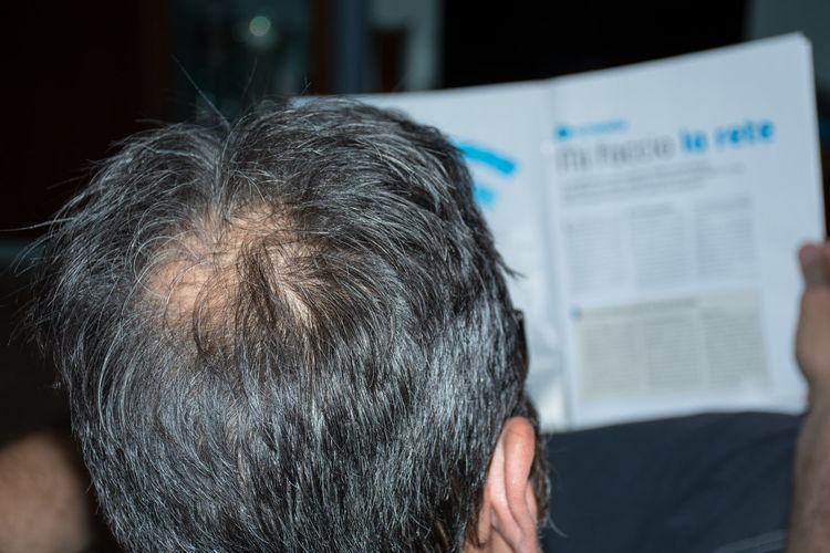 Adult Bald Baldeneysee Baldhead Balding Balding Man Baldness Close-up Day Focus On Foreground Indoors  Men One Man Only One Person People Real People Rear View Senior Adult Sitting