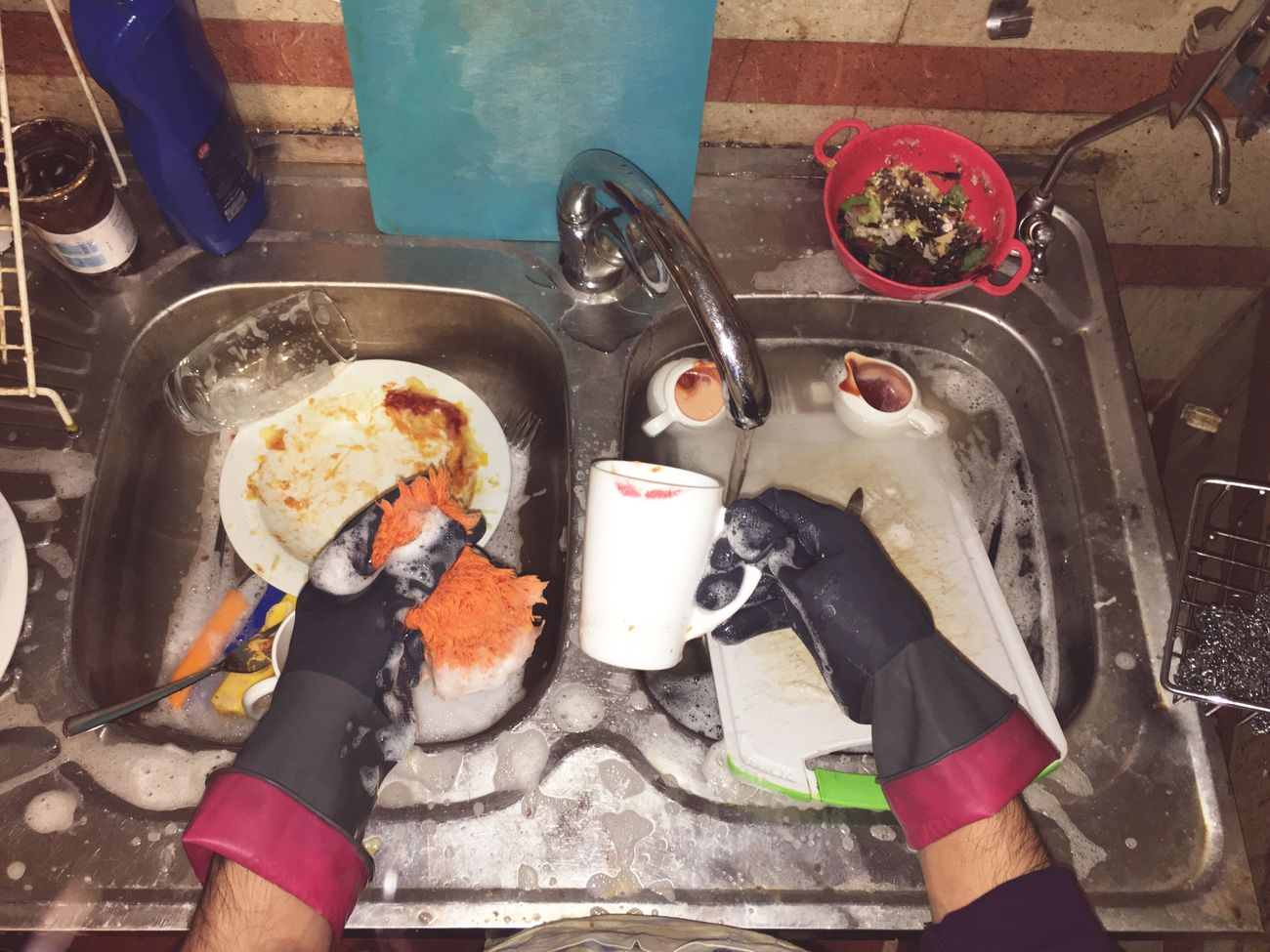 Dishwashing High Angle View Real People One Person Cooking Pan Human Hand Holding Food Day Camping Stove Human Body Part Indoors