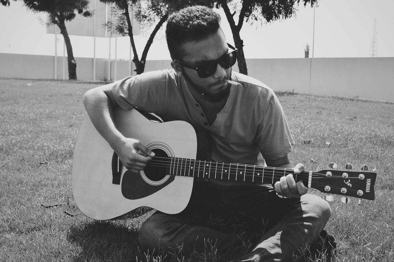Monochrome Photography Guitarist Outdoors Sunglasses Cigrettes University Life Grass Yamahaguitar Sound Of Life