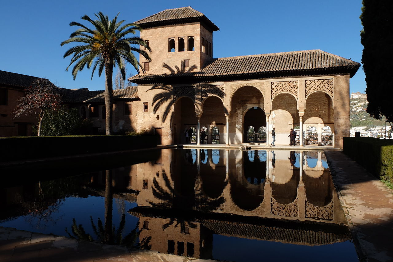 Mirror Alhambra Alhambra De Granada  Architecture Blue Building Exterior Clear Sky Day Mirror Lake No People Outdoors Reflection Sky Tree War Water