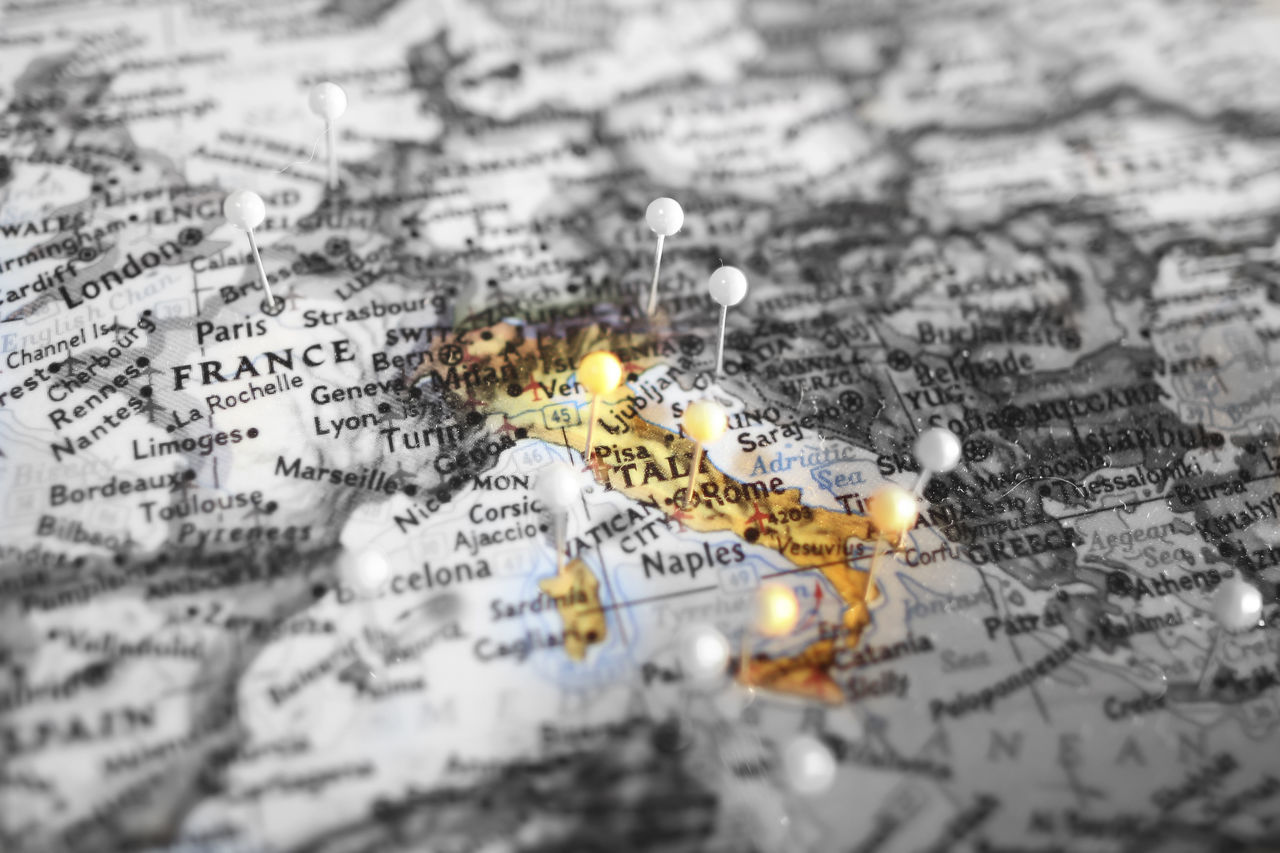 The detail of the map of Italy Close-up Day European, Focus On Foreground Geography, Global, Italy Landscape Lens Map National, No People Selective Focus State, World