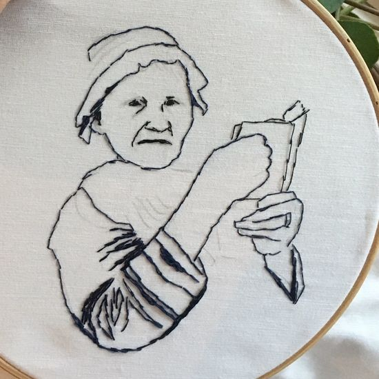 Bible TheBible Reading A Book Portrait Indoors  Close-up Grandmother Great Grandmother Art ArtWork Embroideryart Sapmi Samipeople Myartwork Workinprogress Sweden Nature Samiland Liselottewajstedt TEKLA HELENA