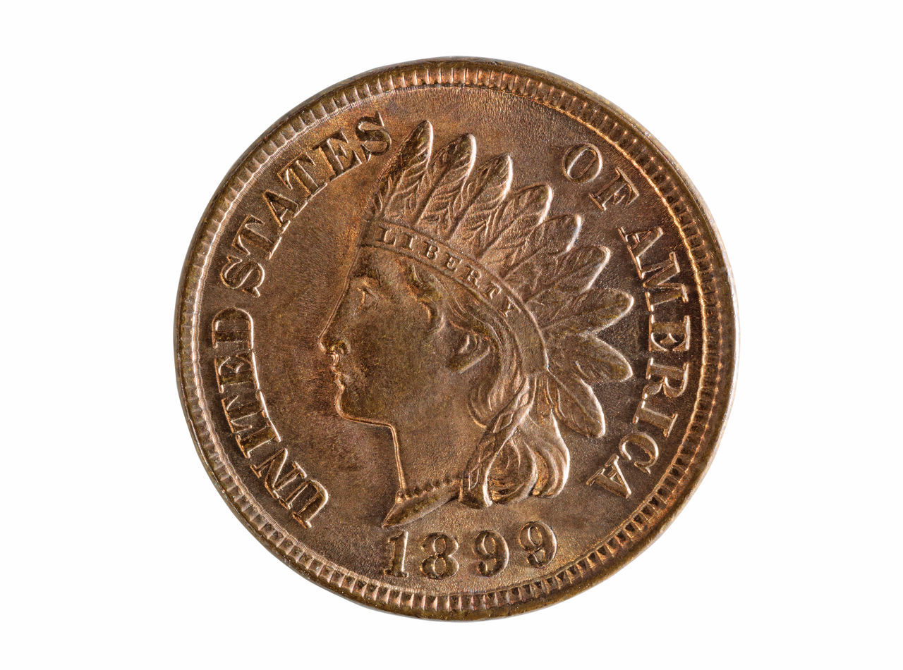 Vintage American one cent isolated on white American Antique Cent Close-up Coin Collection Gold Gold Colored Indian Head Isolated Metal Money No People Penny Rare USA Vintage White Background