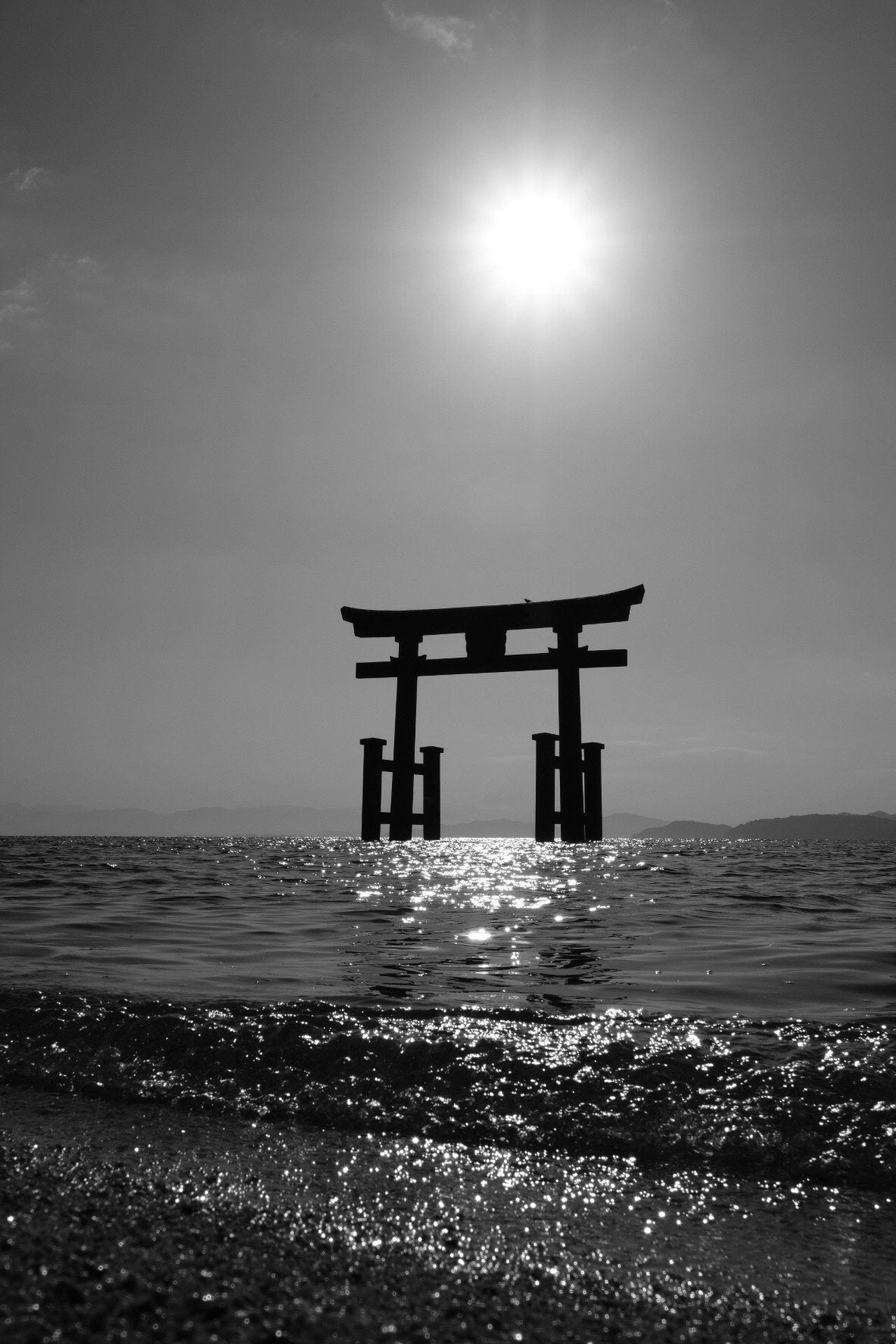Nature Beauty In Nature Sky No People Light And Shadow Water Monochrome Photography Monochrome Shrine Of Japan