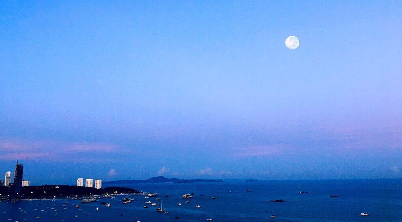 Morning Glory Moonset Sea Blue Moon Nature Sky Beauty In Nature Scenics Outdoors Building Exterior Architecture Built Structure No People Tranquility Water Clear Sky Tranquil Scene Night Astronomy