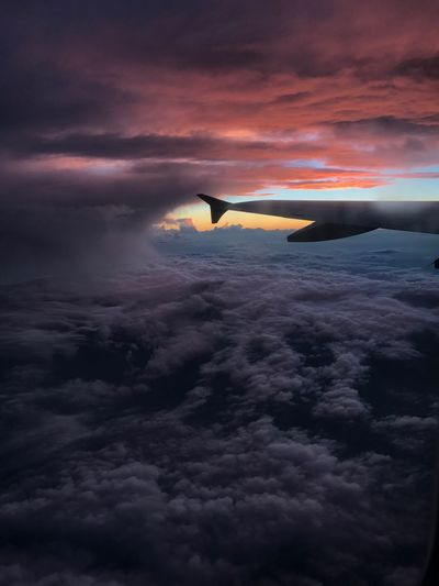 Cloud - Sky Sunset Sky Beauty In Nature Nature Scenics Transportation Aerial View Airplane No People Outdoors Air Vehicle Airplane Wing Sea Flying Water Day Colors Tranquil Scene EyeEmNewHere The Week On EyeEm