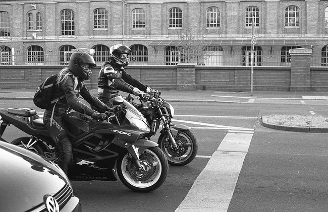 Architecture Blackandwhite Building Exterior City Friedricsh Friedricshain Land Vehicle Mode Of Transport Motorcycling Motorcycling Ninja Bikers On The Move Road Street Street, Transportation Urban