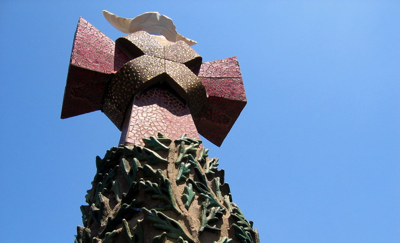 Barcelona Blue Clear Sky Day Gaudi Low Angle View No People Outdoors S Sculpture Sky Statue Tree