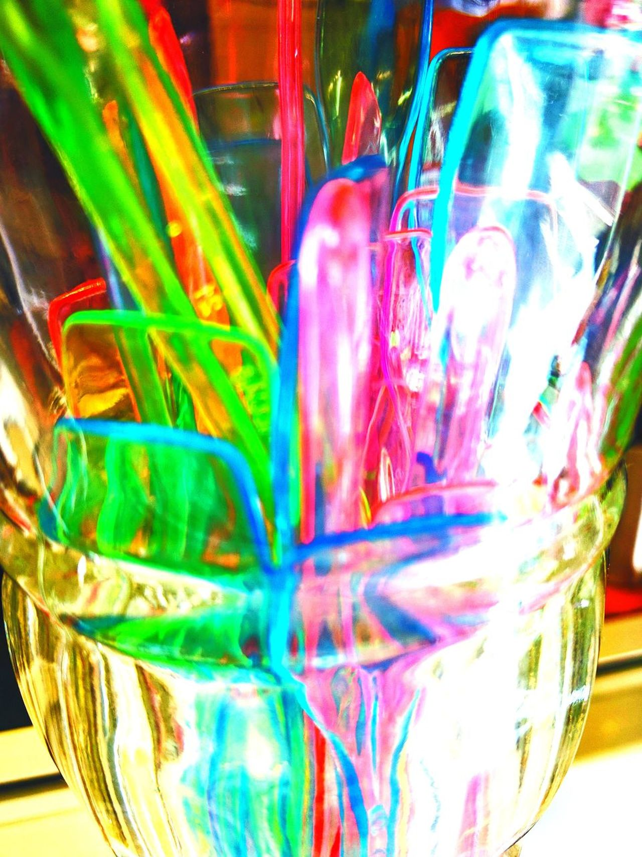 Plastic Spoons Drinking Glass Indoors  No People Close-up Day Illuminous Colours And Patterns Colours Plastic Spoon Ice Cream Ice Cream Shop Neon Life