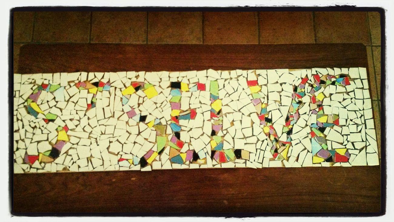 Mosaïque terminée.... 12h30 de travail !!!! Bravo les enfants.... Mosaique Atelier Saint Selve Creeadom
