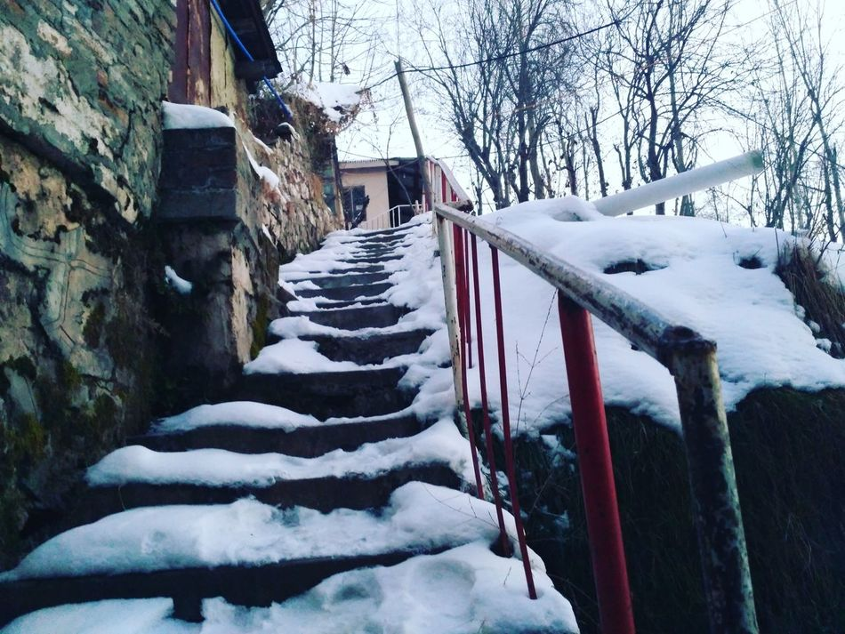 Snow Winter Cold Temperature Weather Nature The Way Forward Beauty In Nature Frozen No People Snowing Day Check This Out Snow ❄ Taking Photos Nature Winter Winterdairies Stairs Wayoflife