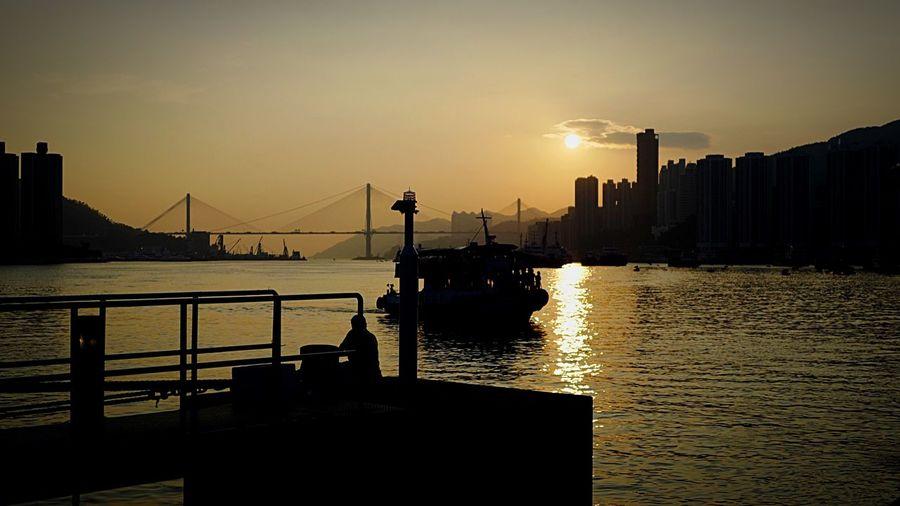 sunset at Tsuen wan west. HongKong Discoverhongkong Leica Leicaq Sunset Ship Bridge Walking Around Taking Photos EyeEm Best Shots