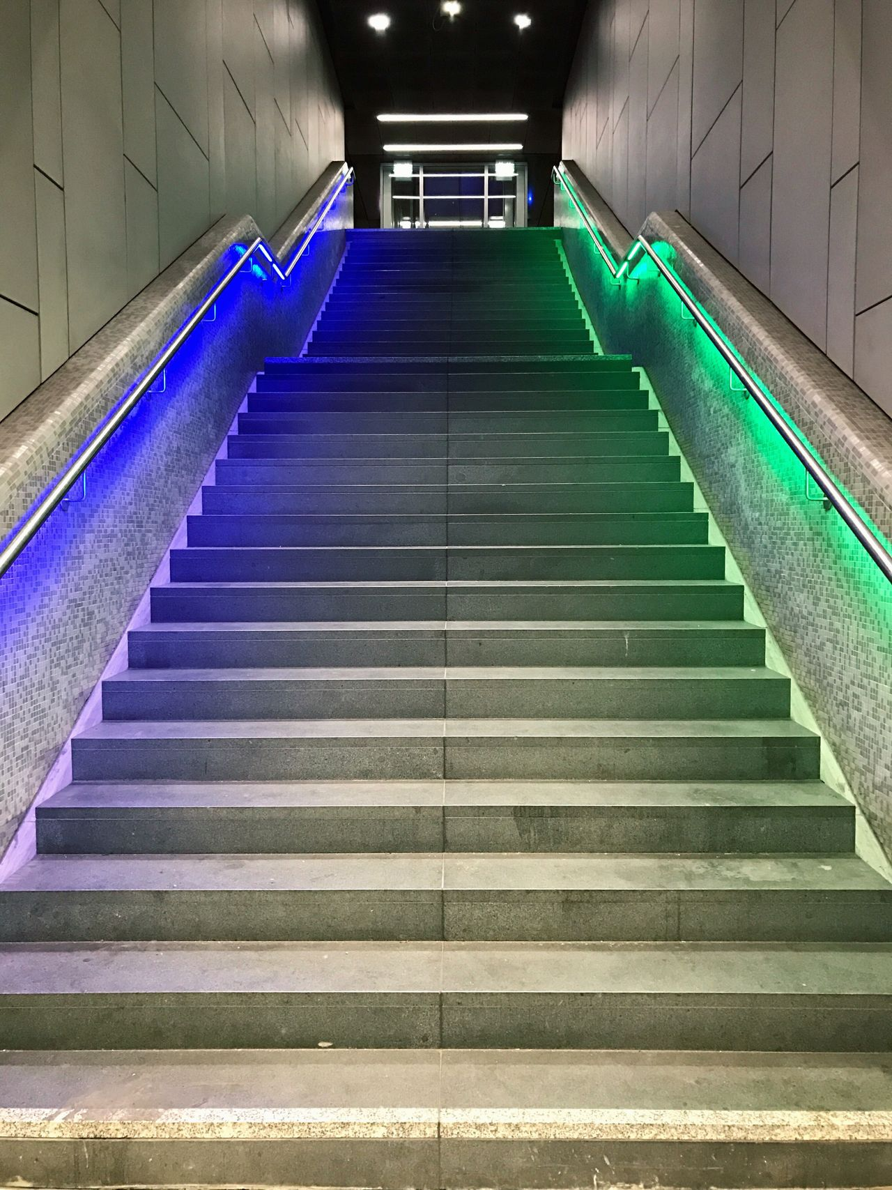 FFM '16 Train Station Frankfurt Main Indoors  Blue Green Light Stairs Architecture Underground Mysterious No People EyeEm Best Shots Eyeemphotography Concrete Steel Handlebar The Way Forward Stairway To Heaven Light And Shadow Colourful Unknown Illuminated Nightlife