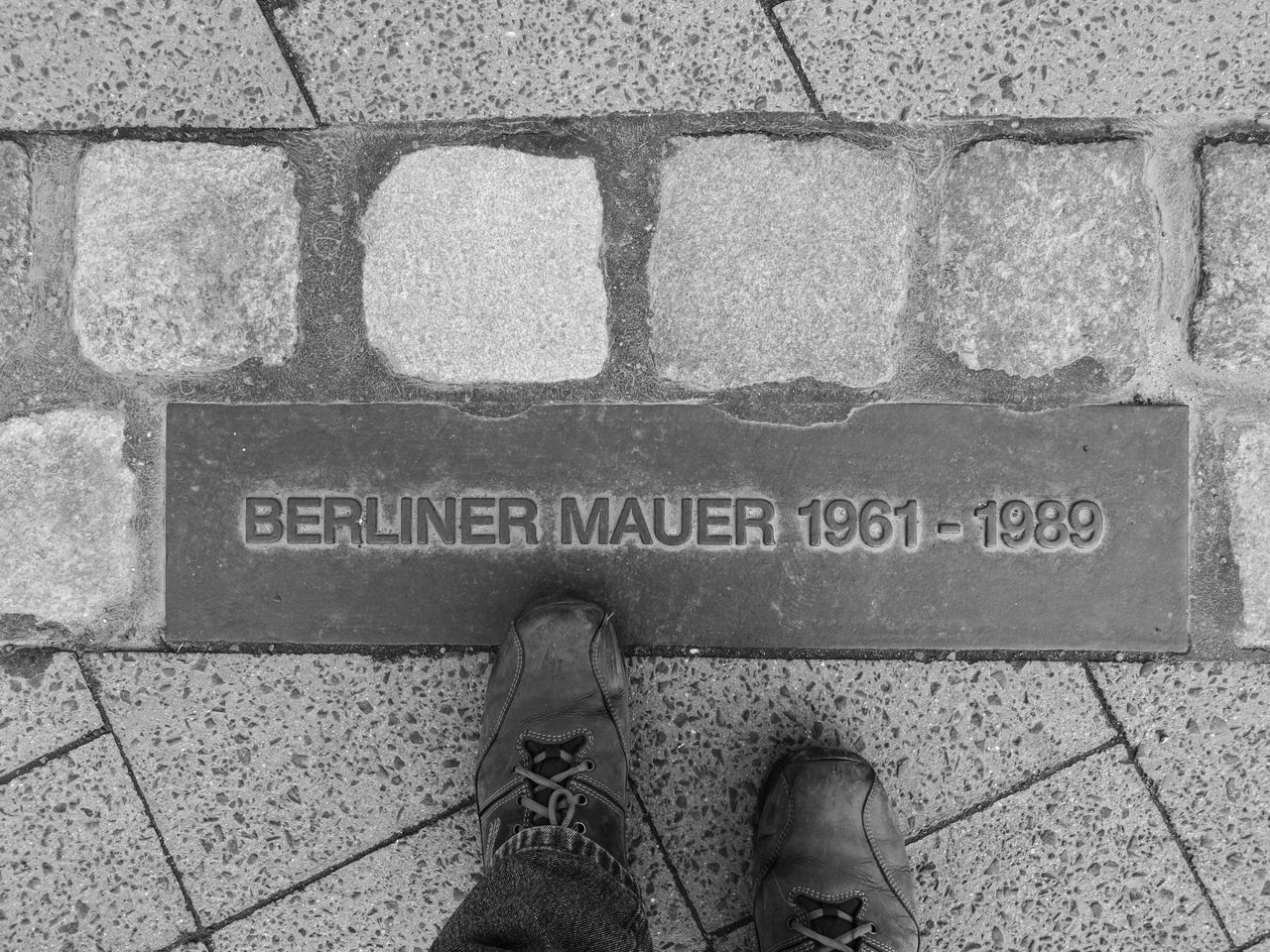 Berlin Berlin Photography Berliner Ansichten Berliner Mauer Day Human Body Part Human Foot Human Leg Looking Down Low Section One Person Outdoors Personal Perspective Shoe Standing Text