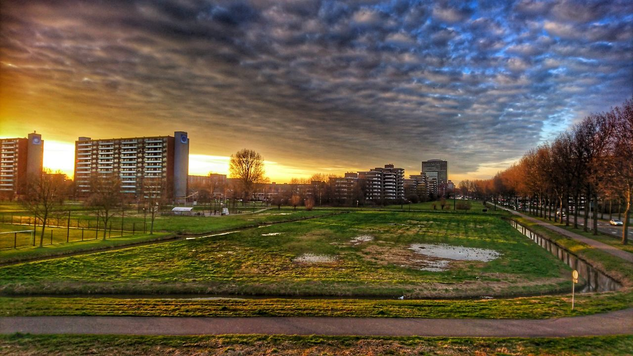 architecture, built structure, city, building exterior, skyscraper, sky, sunset, no people, modern, cloud - sky, cityscape, grass, outdoors, travel destinations, tree, urban skyline, day