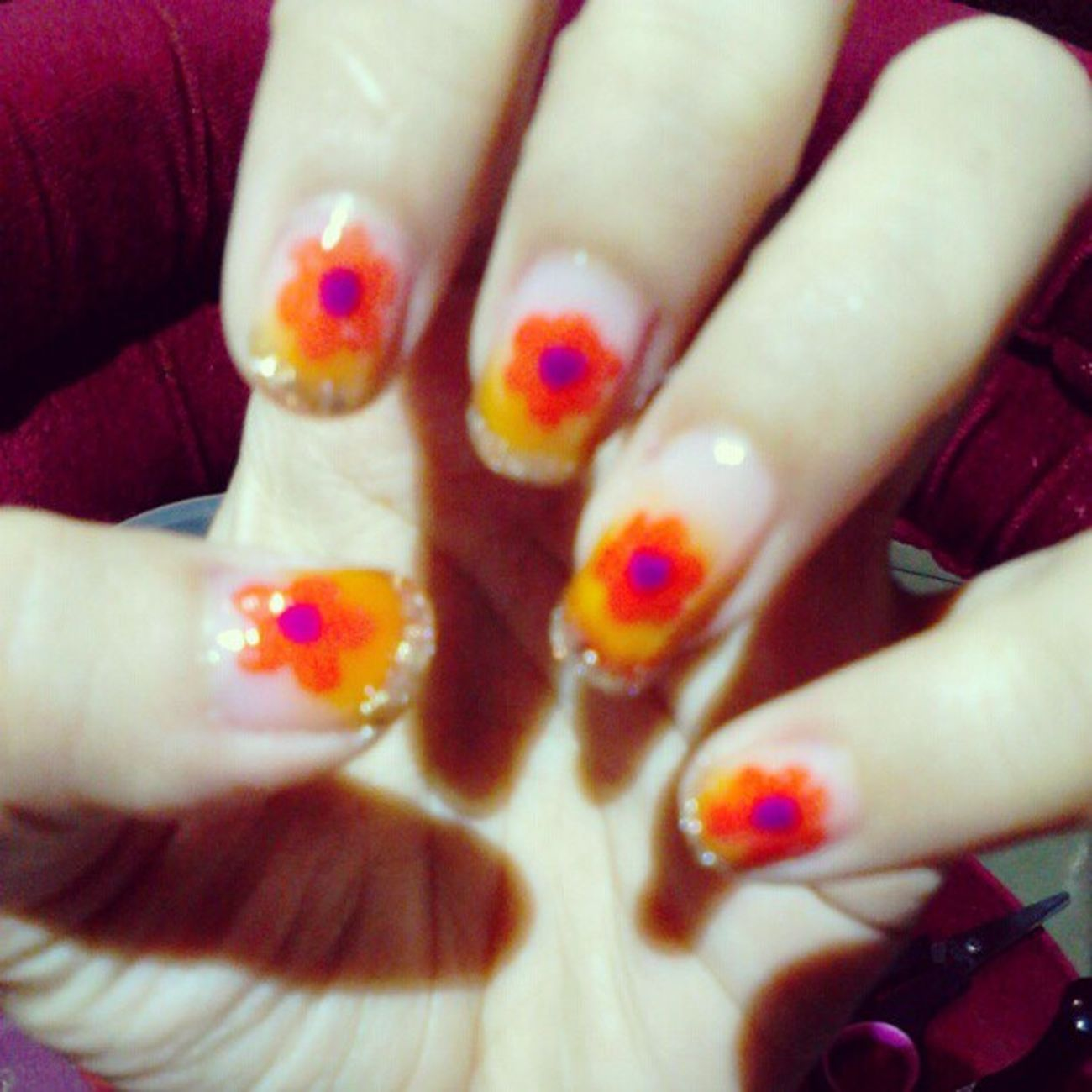 My creation .. My nail !! Yeayyy .. OPI Kuteks Kuku Nail nailpolish bunga flower ...
