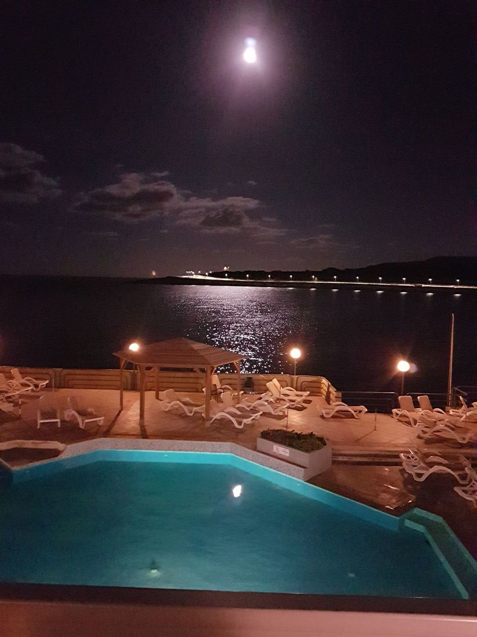 Night Moon Illuminated Beauty In Nature No People Scenics Nature Sky Water Outdoors Astronomy Space Star - Space