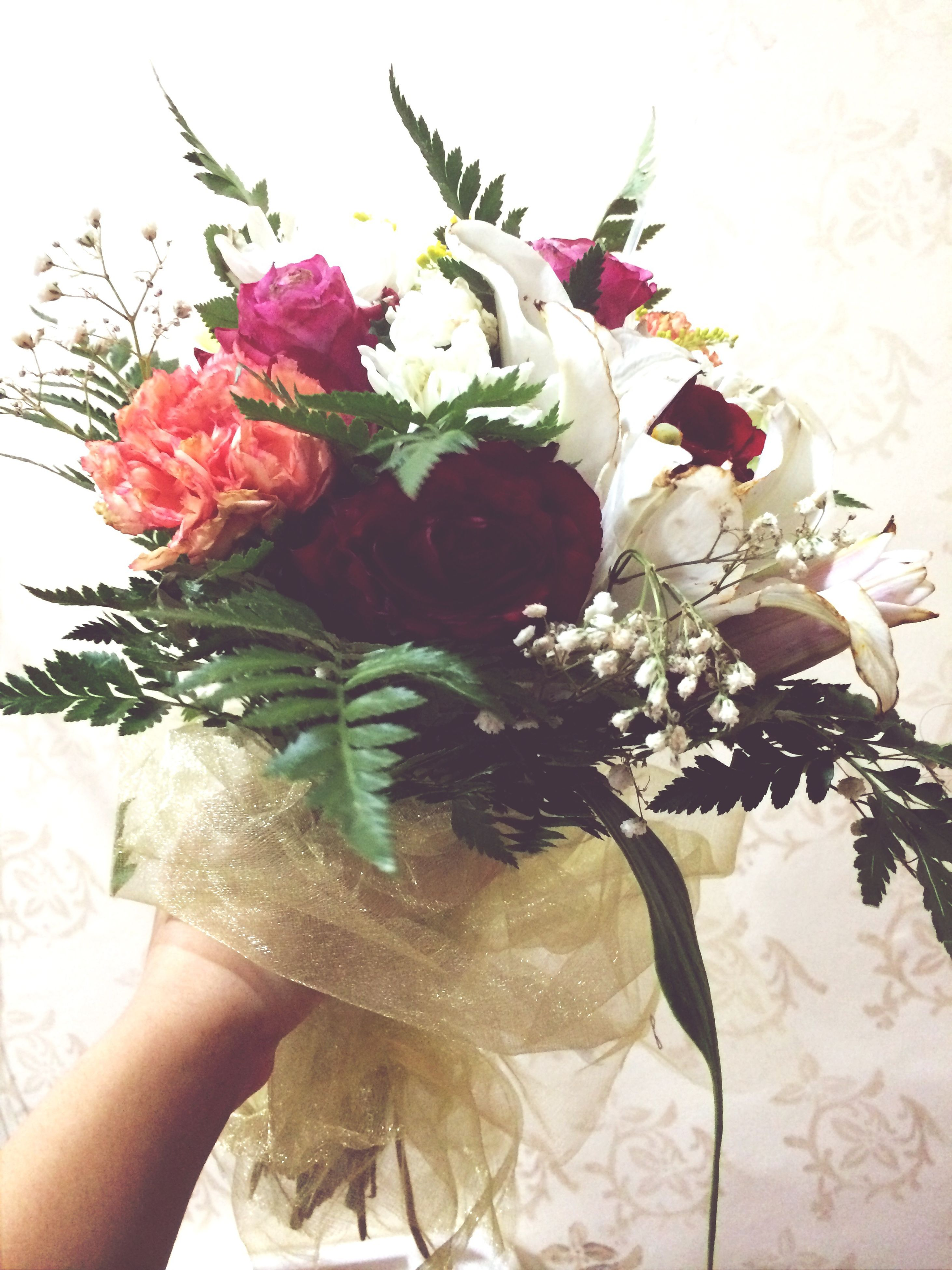 flower, freshness, petal, fragility, vase, indoors, flower head, bouquet, rose - flower, decoration, beauty in nature, leaf, bunch of flowers, flower arrangement, plant, nature, close-up, table, pink color, white background
