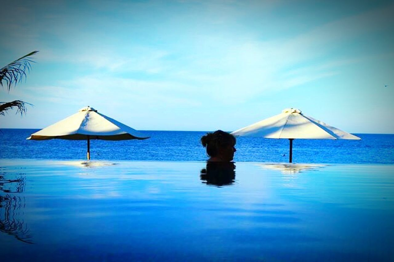 water, beach, vacations, sea, blue, summer, relaxation, tranquility, swimming pool, tranquil scene, beauty, sky, beauty in nature, no people, nature, outdoors, day, clear sky, horizon over water