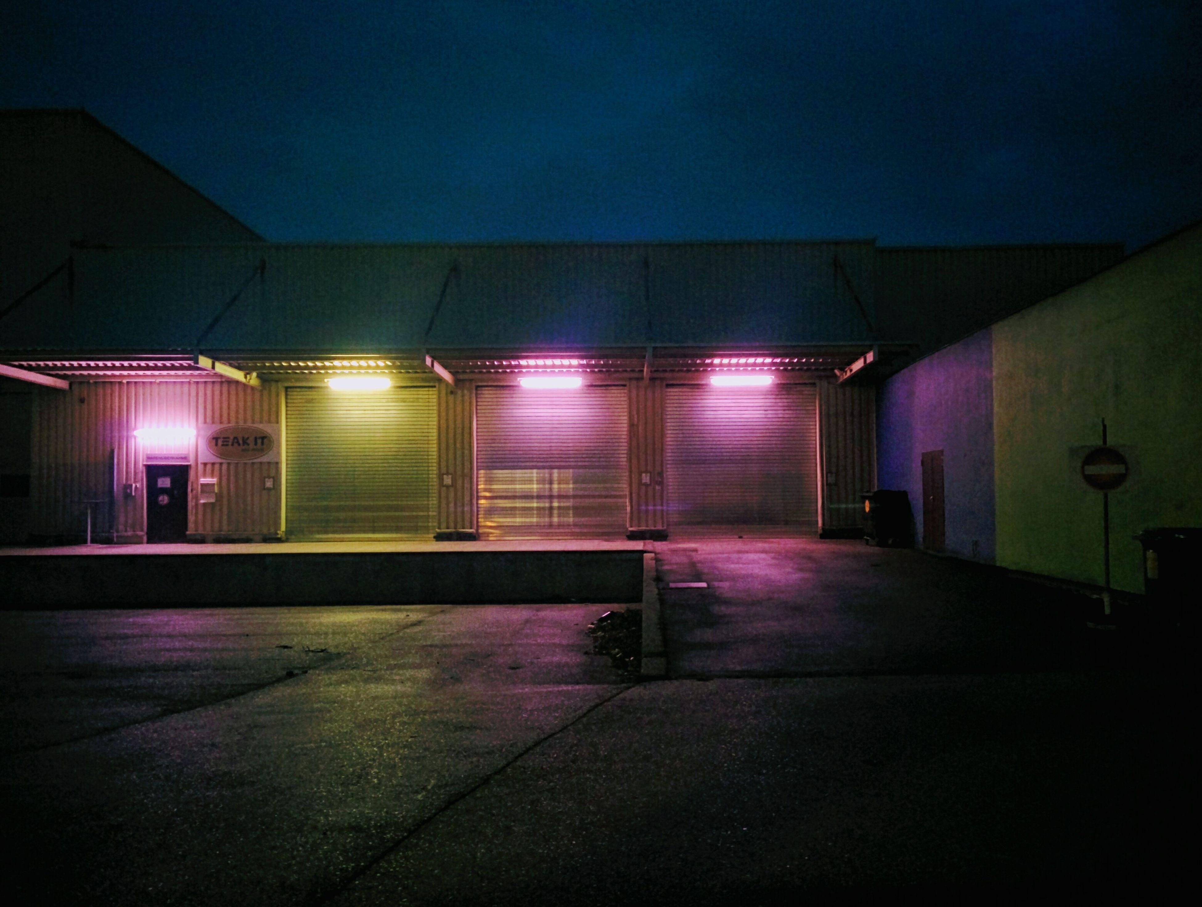 illuminated, night, built structure, architecture, transportation, indoors, no people