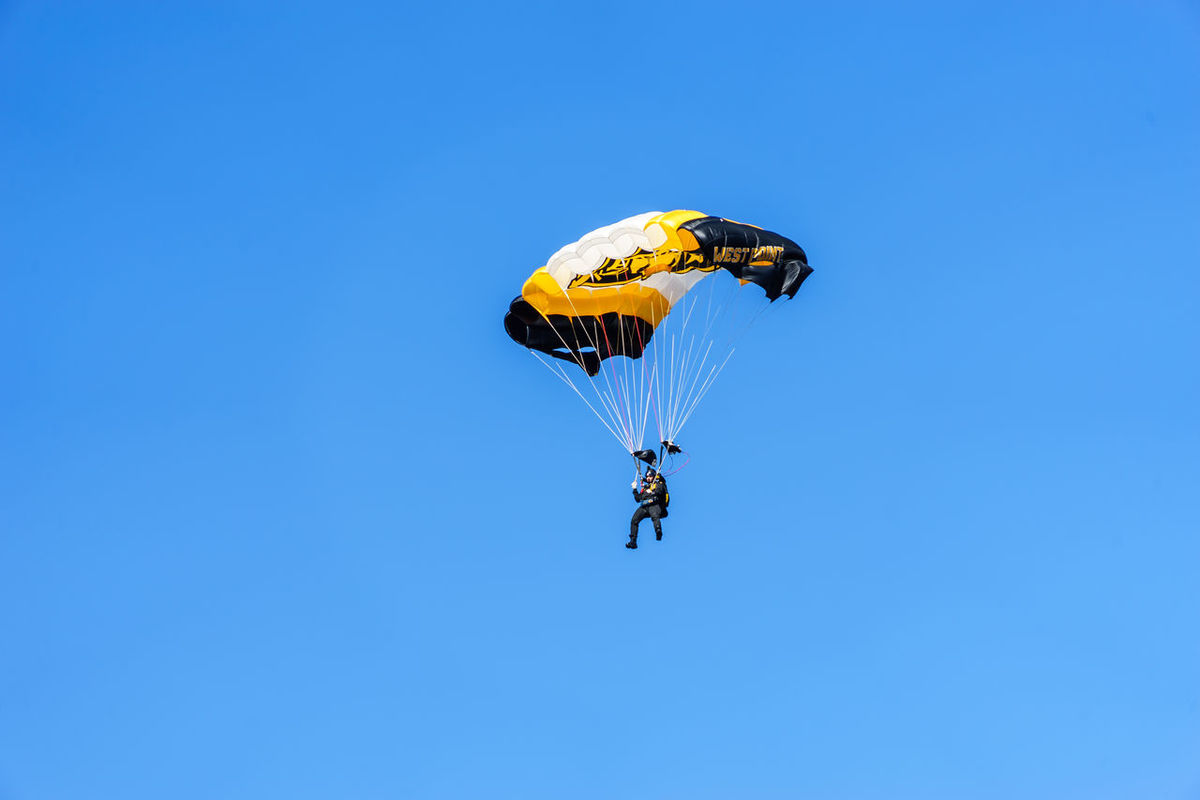 American American Military Academy Army Black Knights Blue Clear Sky College Day Flying Football Horizontal Lafayette Low Angle View Nature No People Outdoors Parachute Paragliding Sky Soldier Sport USA Westpoint