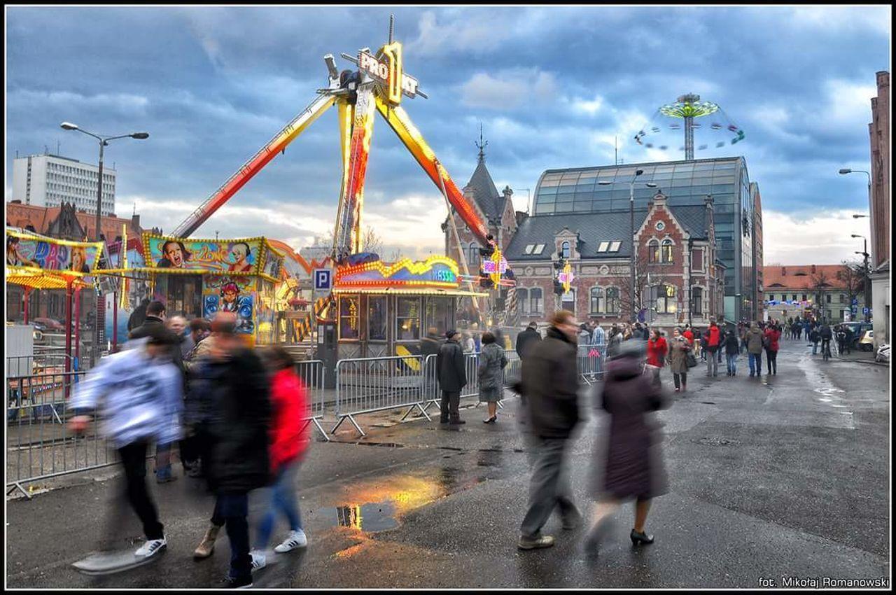 Bydgoszcz Fun Park Carousel Sky People Colors Lights City
