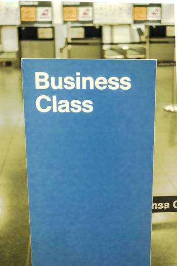 Lufthansa Business Class Check in area in Terminal 2 Madrid Barajas Airport. Departure Lounge Lufthansa Transport Transportation Travel Air Travel  Airline Airport Blue Check In Close-up Communication Departure Editorial  Hall Indoors  No People Text Western Script