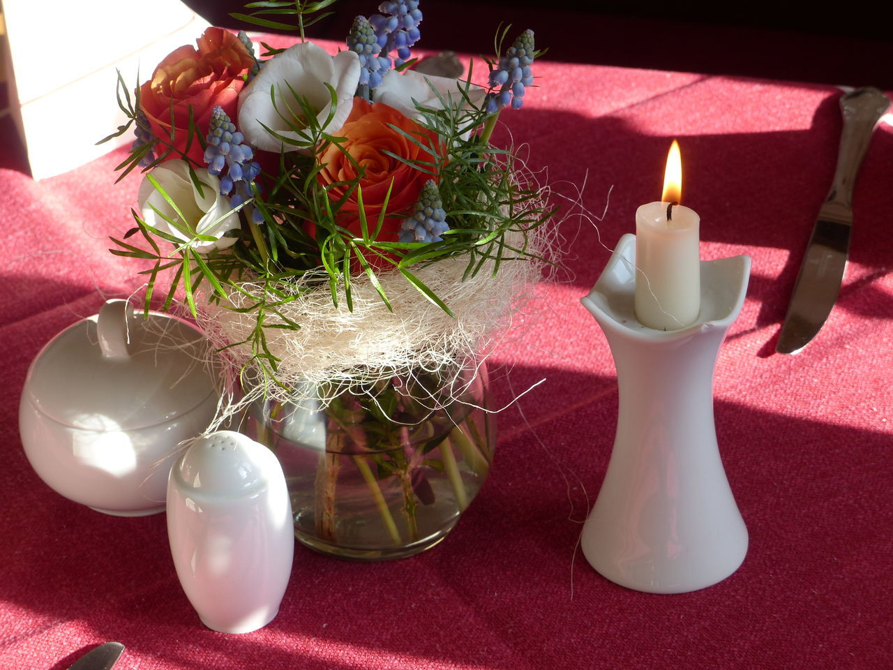 table, candle, celebration, indoors, no people, high angle view, christmas, red, christmas decoration, close-up, flame, shadow, illuminated, day, flower