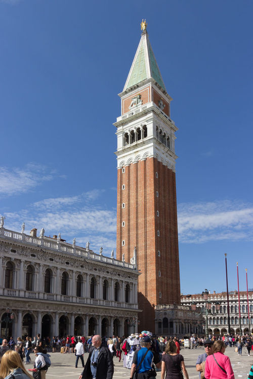 Venice, Italy, September 28, 2015: View of Campanile di San Marco from Piazza San Marco Architecture Bell Building Exterior Built Canal City City Life Companies Cultures Day Famous Place Gondola History Italy Marco Motion Palace People Piazza Square Tourism Tower Travel Destinations Vacations Venice
