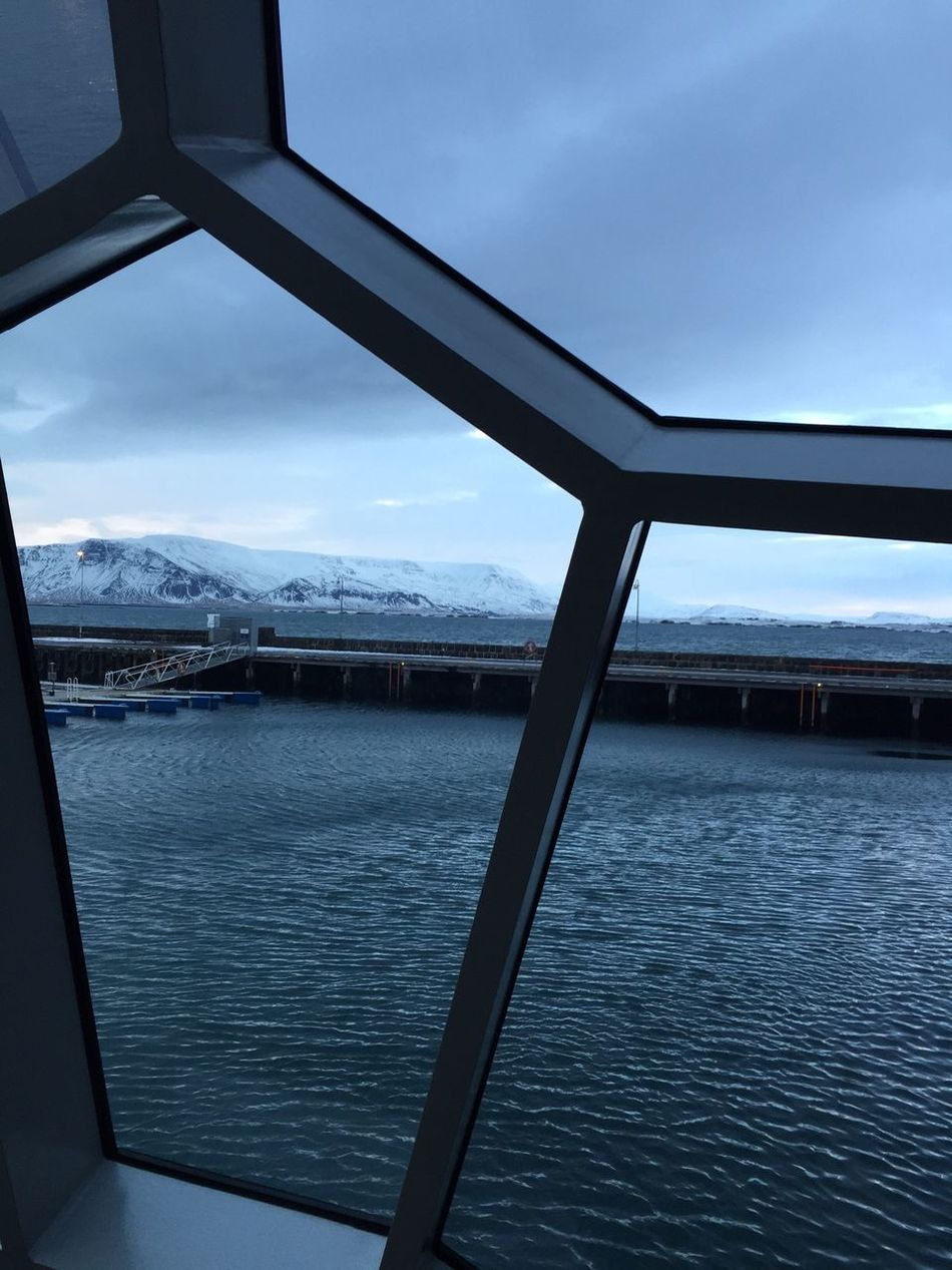 Window View Iceland Mountain View Snowy Mountain Sea Water Icy Wintery Through The Window Window To The World