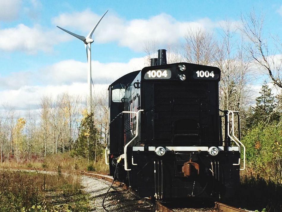 Past and Present -vintage locomotive -wind technology