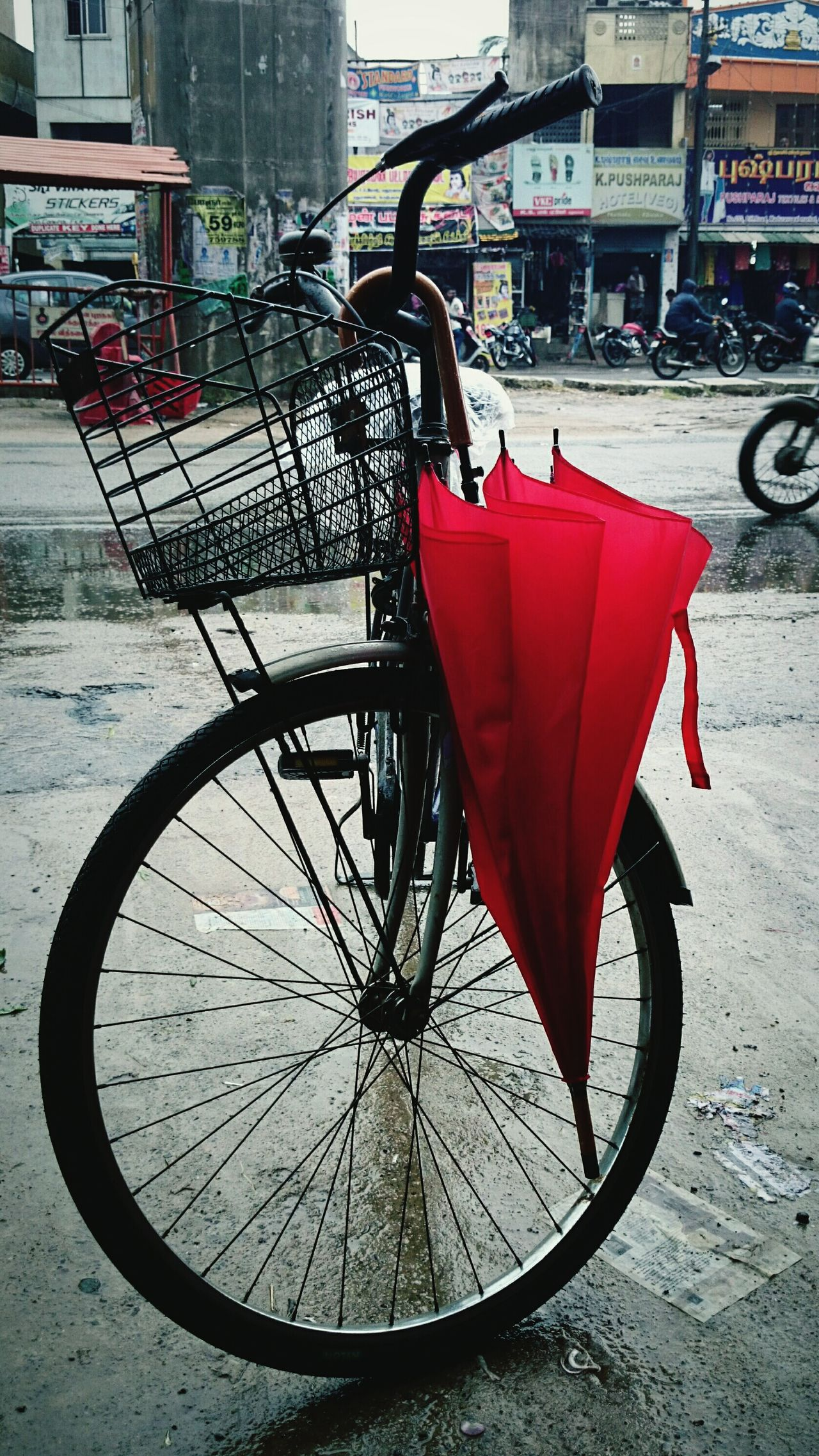 On a rainy day :) Red Rain Xperiaz2 Redumbrella Chennai India Eye4photography  Lovelyweather  Cycle Hello World