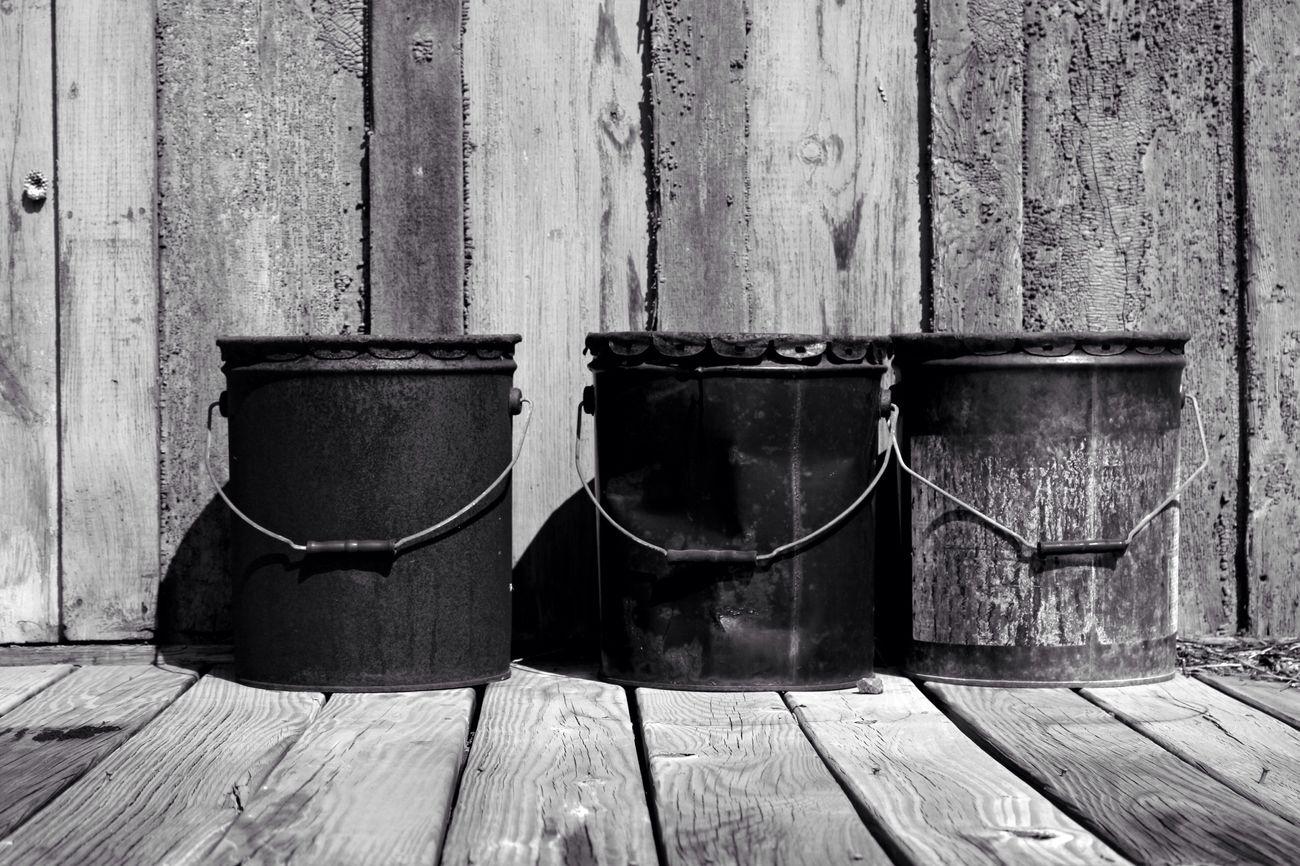 Buckets Bucket Blackandwhite Wood Paneling Close-up Wood Weathered Art EyeEm Best Shots Amaturephotography New York EyeEm
