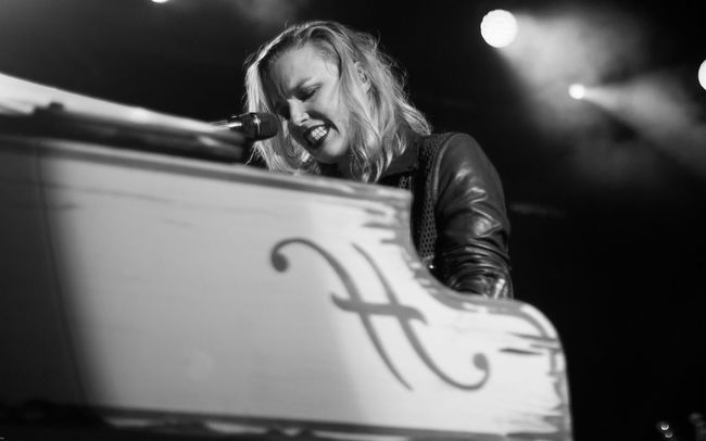 Halestorm performing in 2015 Black And White Emotion Halestorm Live Music Live Music Photography Lzzy Hale Piano Singing First Eyeem Photo