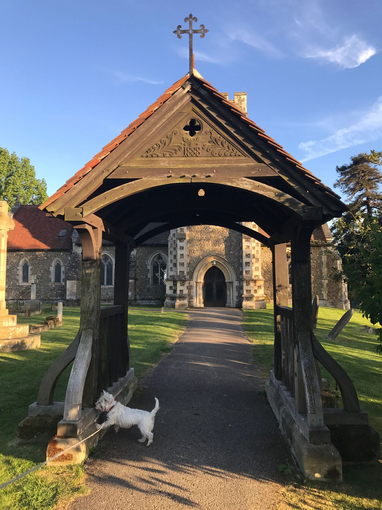 Religion Architecture Built Structure Spirituality Day History Cross Sky No People Place Of Worship Outdoors Building Exterior Grass Westie Photobombed Dog