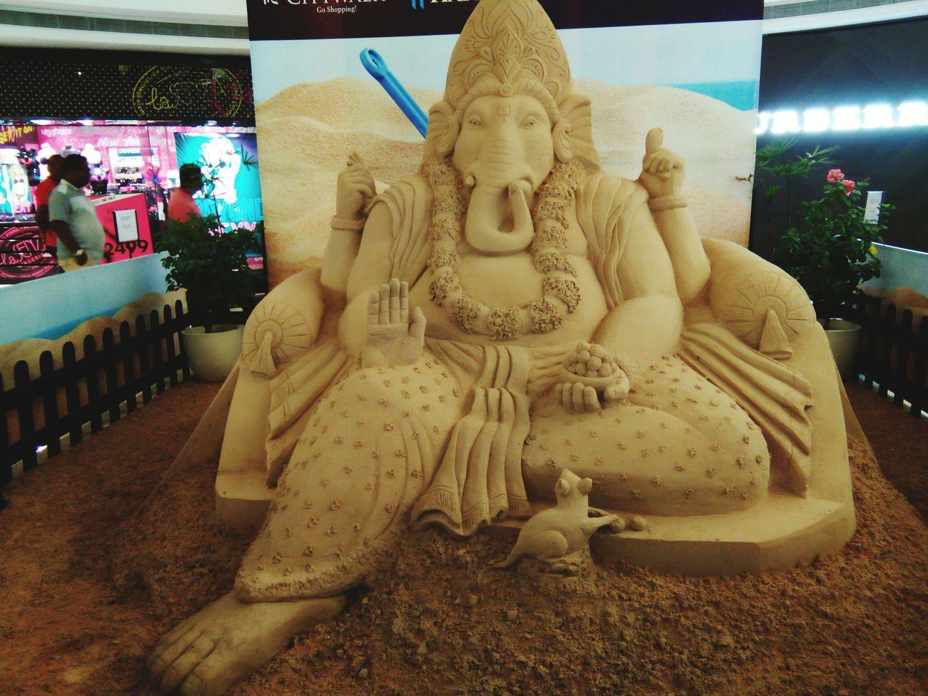 Art And Craft Art Creativity Outdoors Built Structure Sandsculpture LordGanesha Sandart Amazingarts