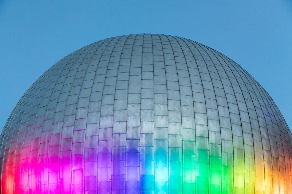 Zeiss Major Planetarium in Prenzlauer Berg (Berlin) illuminated with prismatic colors Architecture Blue Building Exterior Built Structure Capital Cities  Clear Sky Close-up Dome Famous Place Geometric Shape Illuminated Low Angle View Modern Multi Colored No People Outdoors Part Of Planetarium - Building Prism Rainbow Research Sky Space And Astronomy Spectrum Sphere