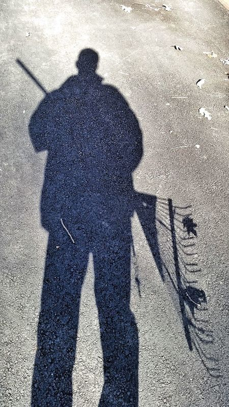 Early spring cleanup. Raking Rake Leaves Gardening Garden Tools Shadow Self Portrait That's Me Selfie ✌ Showcase March Not Instagram