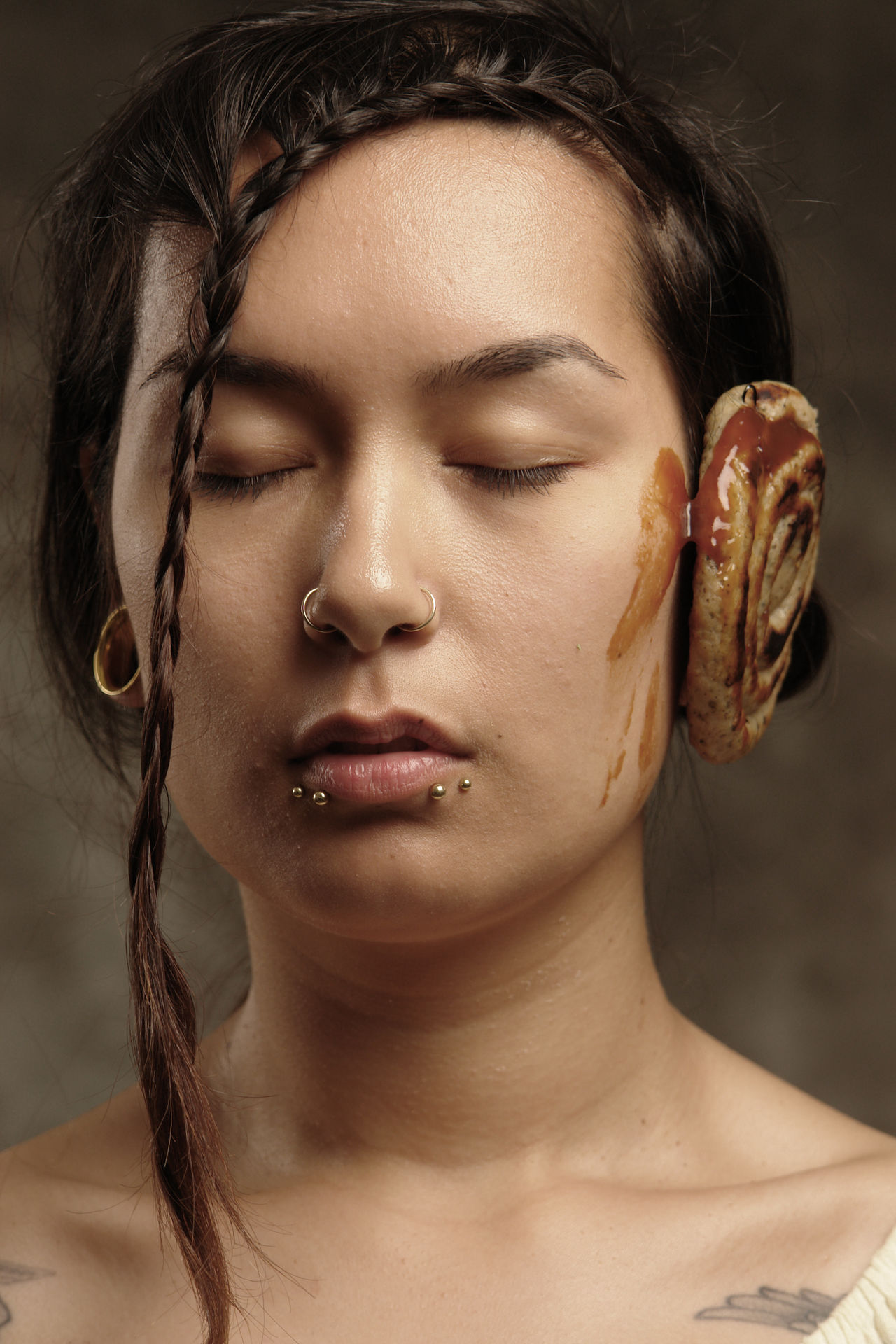 Currywurst Art Art Foto Art Photography Beautiful Woman Braid Closed Eyes Contemplation Currywurst Ethnic Foto Art Front View Headshot Human Face Indoors  Ketchup One Person People Photo Art Piercing Portrait Real People Smeared Stained Young Adult Young Women