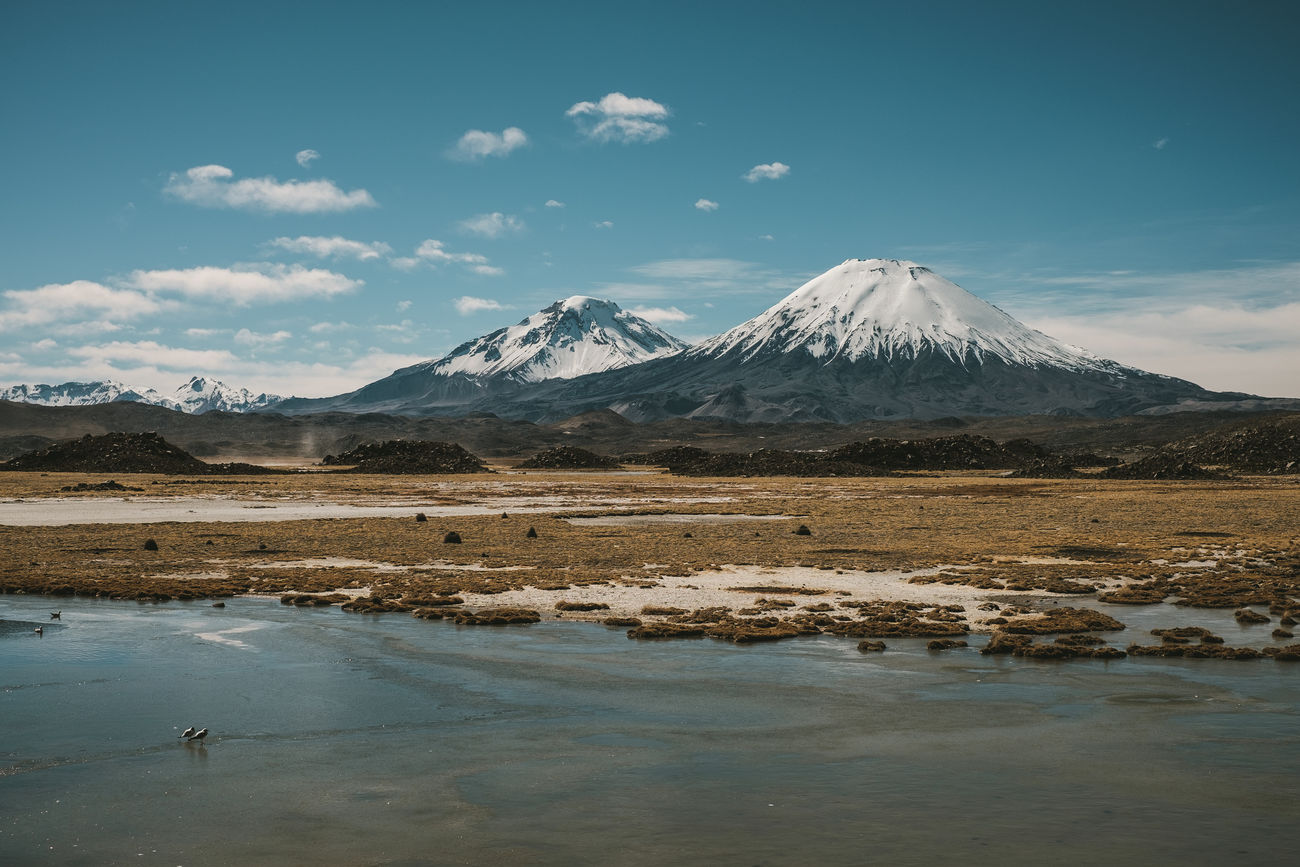 Amazing View Andes Chile Lagoon Landscape Mountain National Park Nature Nature Outdoors Parinacota Parque Nacional Lauca Y Putr Putre Snow Tranquil Scene Tranquility Volcano