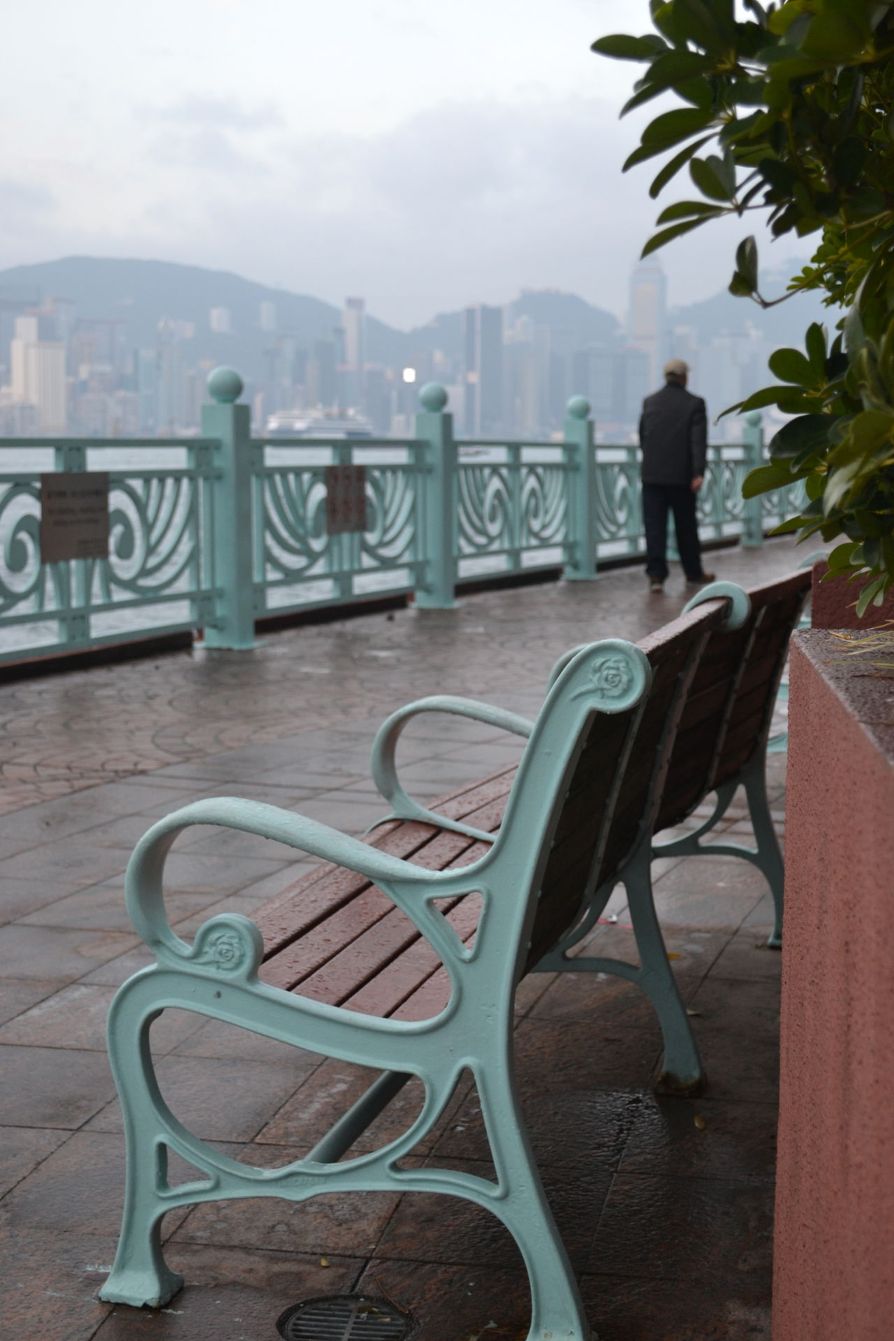 Architecture Bench Chair City Day Hong Kong Man Man Walking From Behind Outdoors Railing Rainy Days Relaxation Seat Sky And Clouds Skyline Travel Destinations Travel Photography Walking Around Waterfront