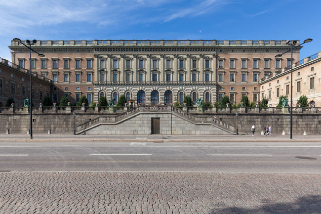 Stockholm, Sweden - Aug 24, 2016 : Front view of Swedish Royal Palace on a sunny day during the summer. Architecture City Day Destinations Europe Gamla Stan Landmark Landmarks Nordic Countries Scandinavia Stockholm Stockholm, Sweden Sunset Travel