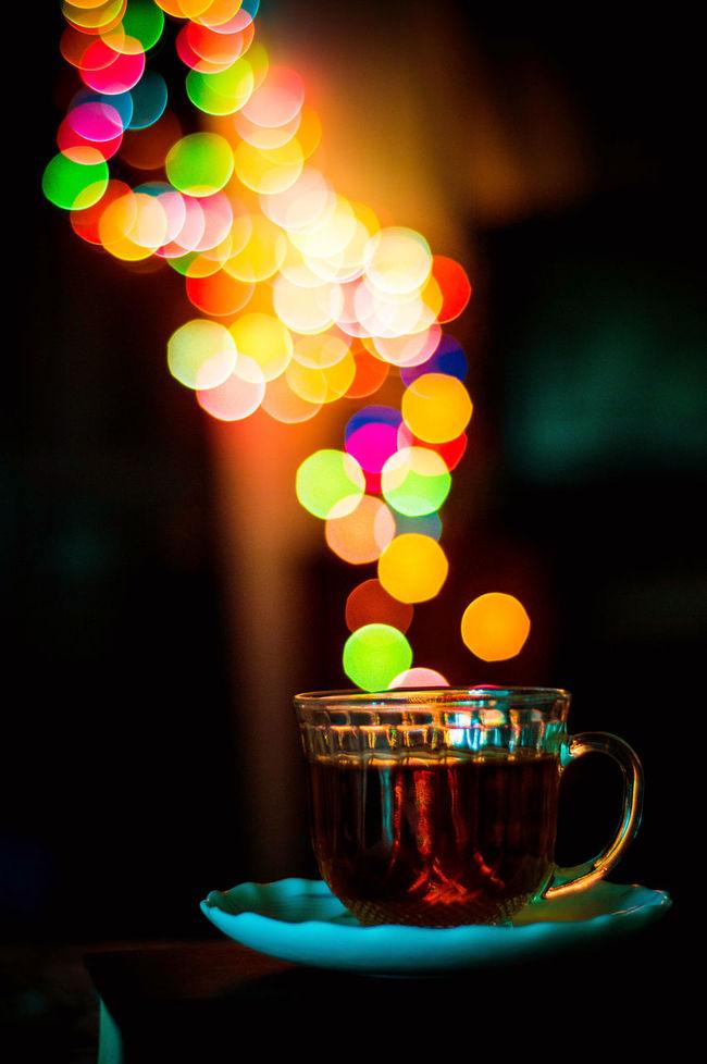 Bokehlicious tea. Bokeh Bokeh Balls Bokehlicious Bokehlicious Tea Circle Cup Dark Defocused Glowing Illuminated Lens Flare Lit Multi Colored No People Tea Tea Cup Tea Is Healthy Tea Time Vibrant Color