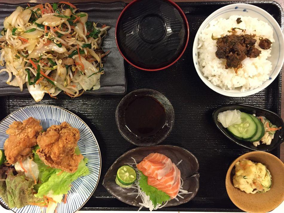 yasai itame+ salmon sashimi + tori age with rice shitake Check This Out Enjoying Life