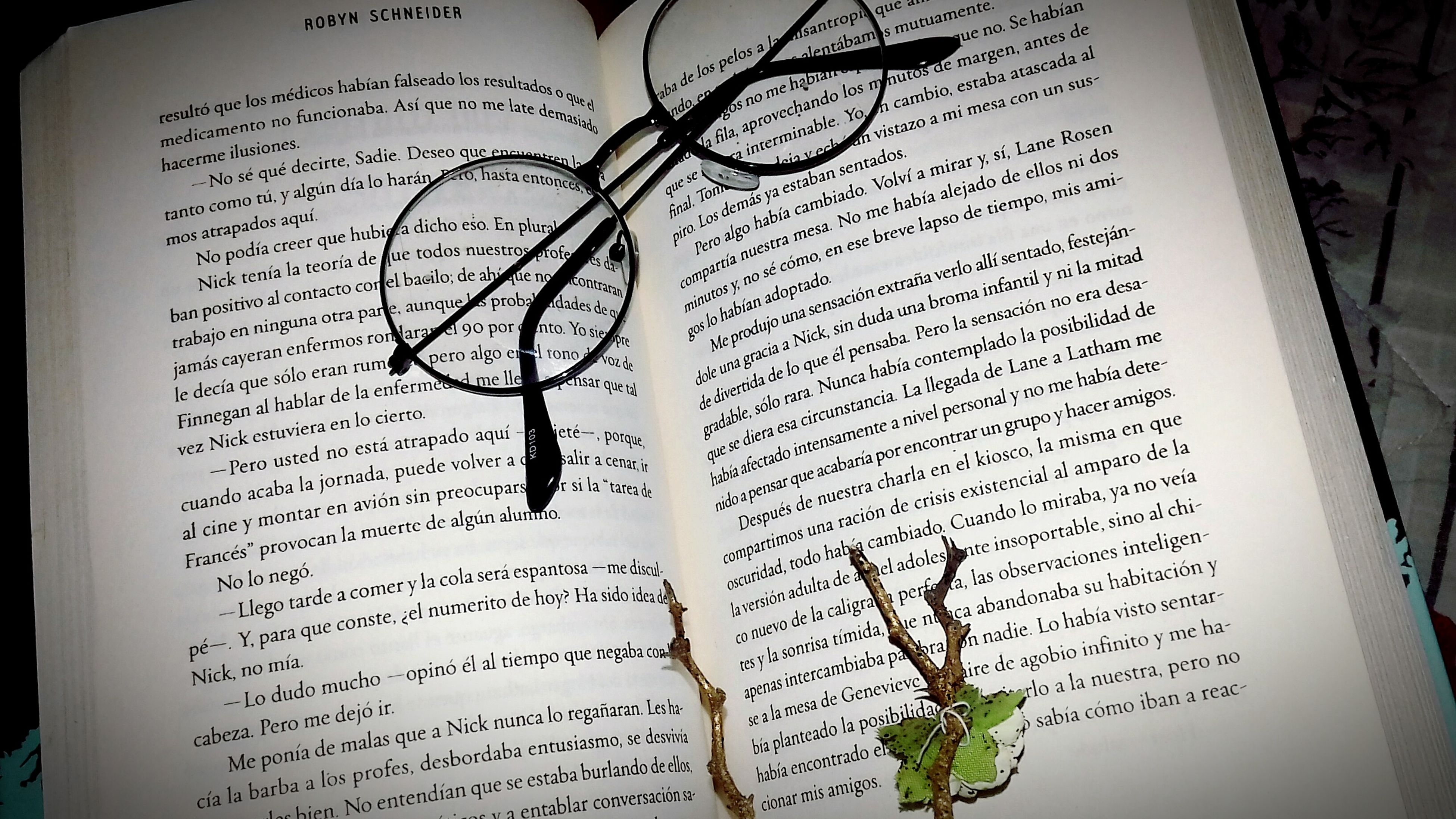 text, eyeglasses, communication, book, education, page, paper, religion, spirituality, close-up, no people, indoors, day